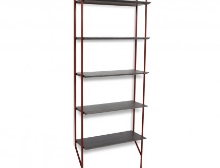 hitch-modern-bookcase-red-legs-smoke-shelves-angle