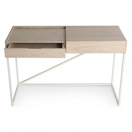 Swish Modern Console Desk White Ash White Drawer Open